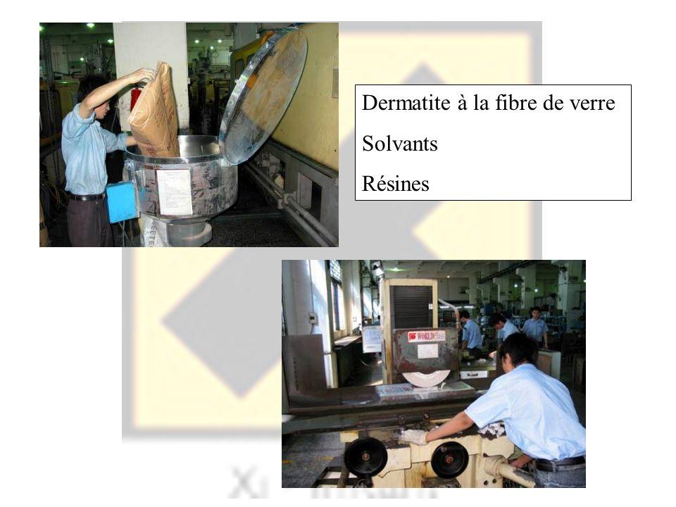 Dermatite à la fibre de verre Solvants Résines
