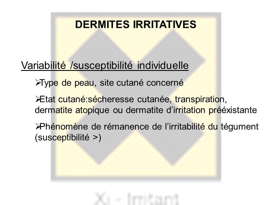 Variabilité /susceptibilité individuelle Type de peau, site cutané concerné Etat cutané:sécheresse cutanée, transpiration, dermatite atopique ou derma