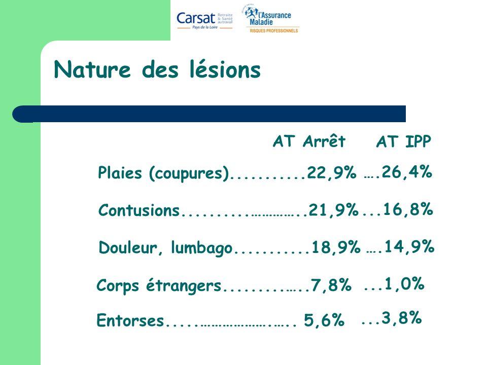 Nature des lésions Plaies (coupures)...........22,9% Contusions..........…………..21,9% Douleur, lumbago...........18,9% Entorses.....……………….….. 5,6% Cor