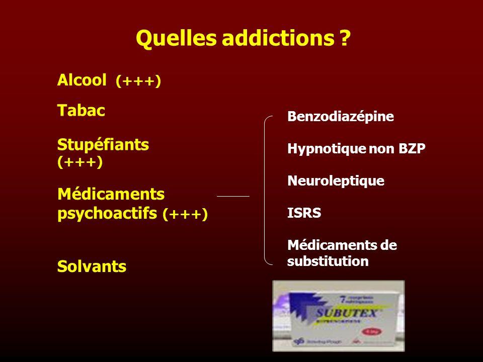 Quelles addictions ? Stupéfiants (+++) Médicaments psychoactifs (+++) Solvants Alcool (+++) Tabac Benzodiazépine Hypnotique non BZP Neuroleptique ISRS