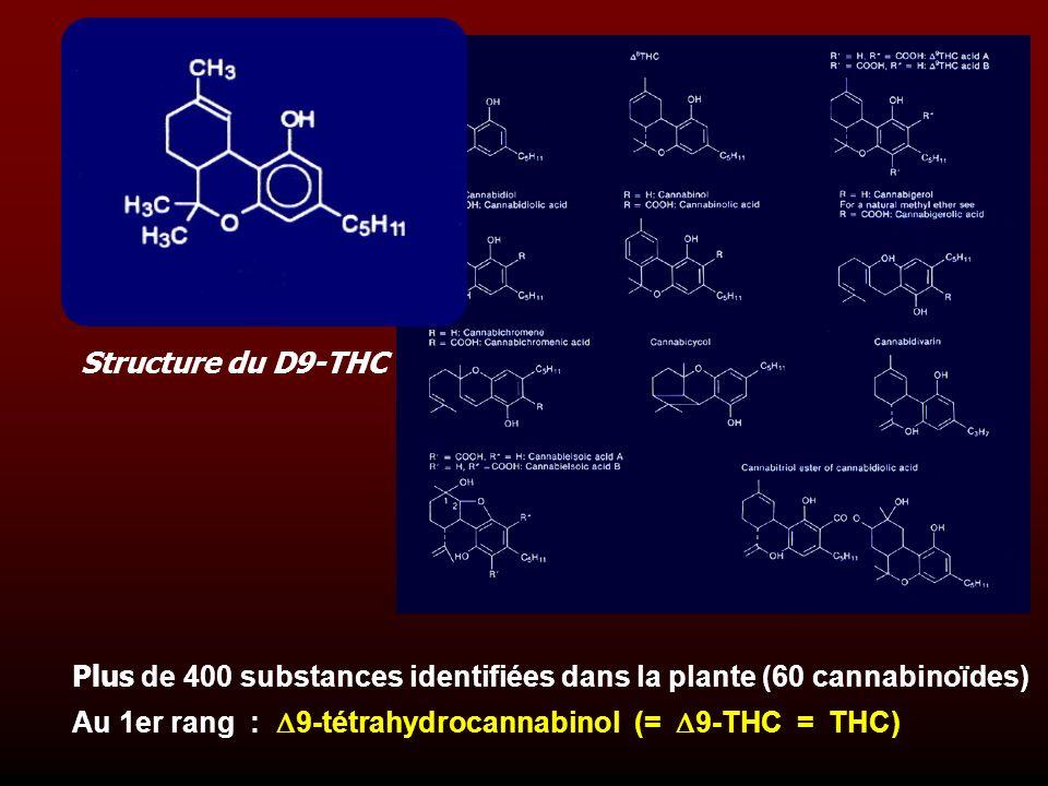 Plus de 400 substances identifiées dans la plante (60 cannabinoïdes) Au 1er rang : 9-tétrahydrocannabinol (= 9-THC = THC) Structure du D9-THC
