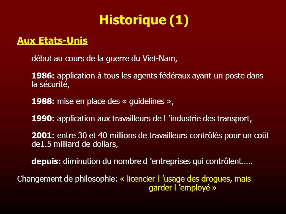 Historique (1) Aux Etats-Unis début au cours de la guerre du Viet-Nam, 1986: application à tous les agents fédéraux ayant un poste dans la sécurité, 1