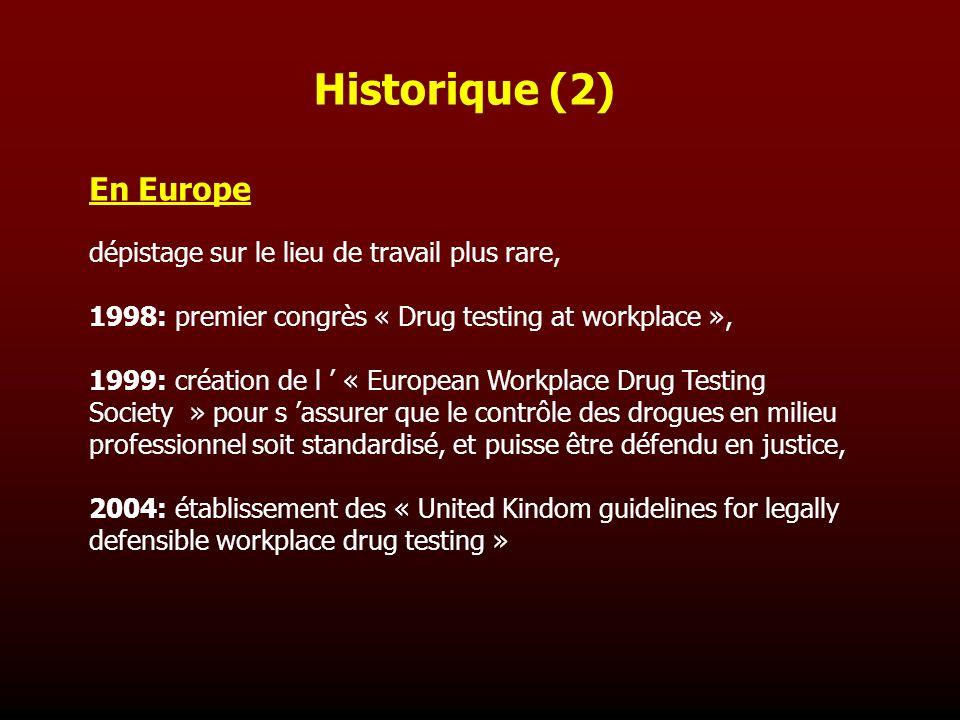 En Europe dépistage sur le lieu de travail plus rare, 1998: premier congrès « Drug testing at workplace », 1999: création de l « European Workplace Dr
