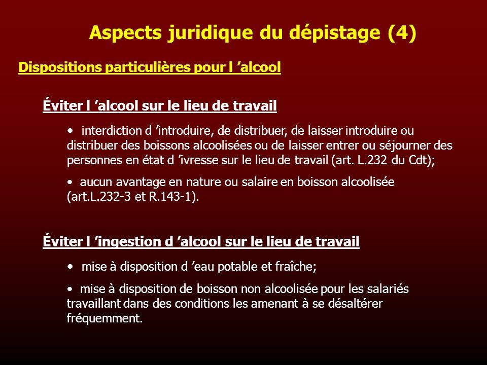 Dispositions particulières pour l alcool Éviter l alcool sur le lieu de travail interdiction d introduire, de distribuer, de laisser introduire ou dis