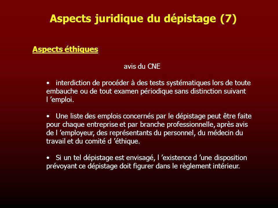 Aspects éthiques avis du CNE interdiction de procéder à des tests systématiques lors de toute embauche ou de tout examen périodique sans distinction s