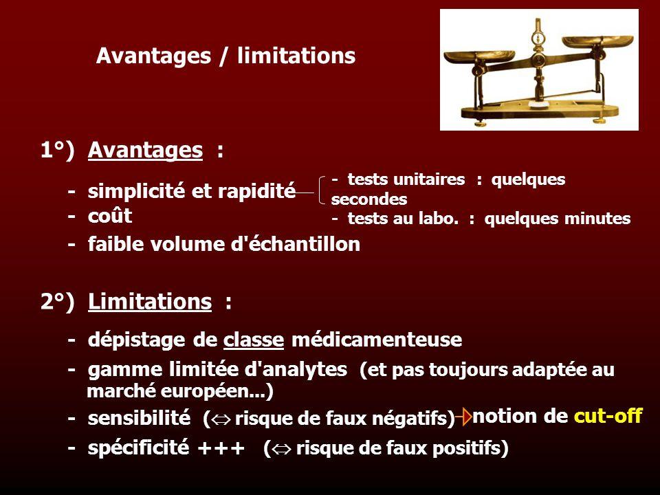 Avantages / limitations - dépistage de classe médicamenteuse - gamme limitée d'analytes (et pas toujours adaptée au marché européen...) - sensibilité