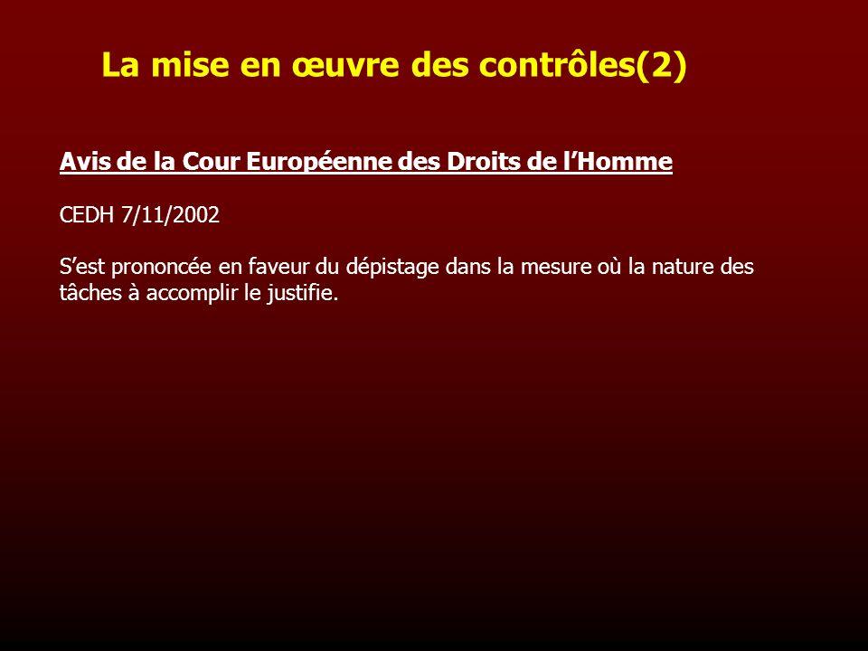 Avis de la Cour Européenne des Droits de lHomme CEDH 7/11/2002 Sest prononcée en faveur du dépistage dans la mesure où la nature des tâches à accompli