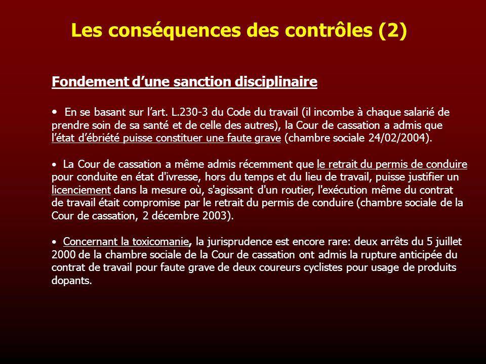 Les conséquences des contrôles (2) Fondement dune sanction disciplinaire En se basant sur lart. L.230-3 du Code du travail (il incombe à chaque salari