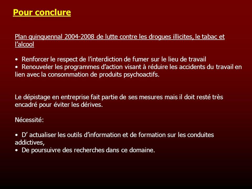Pour conclure Plan quinquennal 2004-2008 de lutte contre les drogues illicites, le tabac et lalcool Renforcer le respect de linterdiction de fumer sur