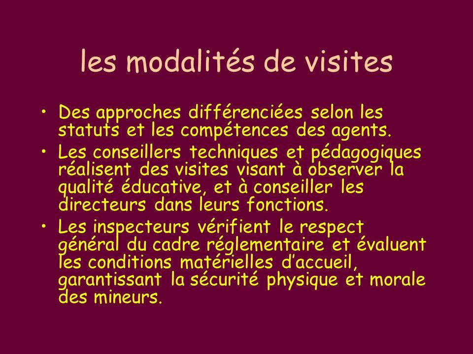 les modalités de visites Des approches différenciées selon les statuts et les compétences des agents.
