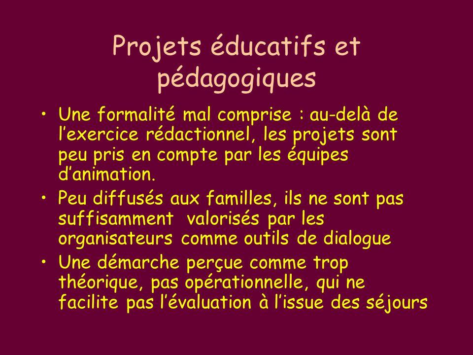 Projets éducatifs et pédagogiques Une formalité mal comprise : au-delà de lexercice rédactionnel, les projets sont peu pris en compte par les équipes danimation.