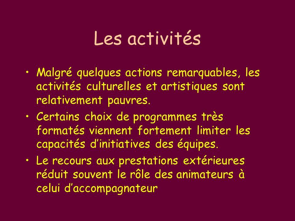 Les activités Malgré quelques actions remarquables, les activités culturelles et artistiques sont relativement pauvres.