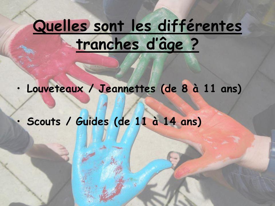 Quelles sont les différentes tranches dâge ? Louveteaux / Jeannettes (de 8 à 11 ans) Scouts / Guides (de 11 à 14 ans)