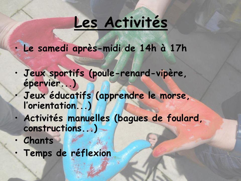 Les Activités Le samedi après-midi de 14h à 17h Jeux sportifs (poule-renard-vipère, épervier...) Jeux éducatifs (apprendre le morse, lorientation...)