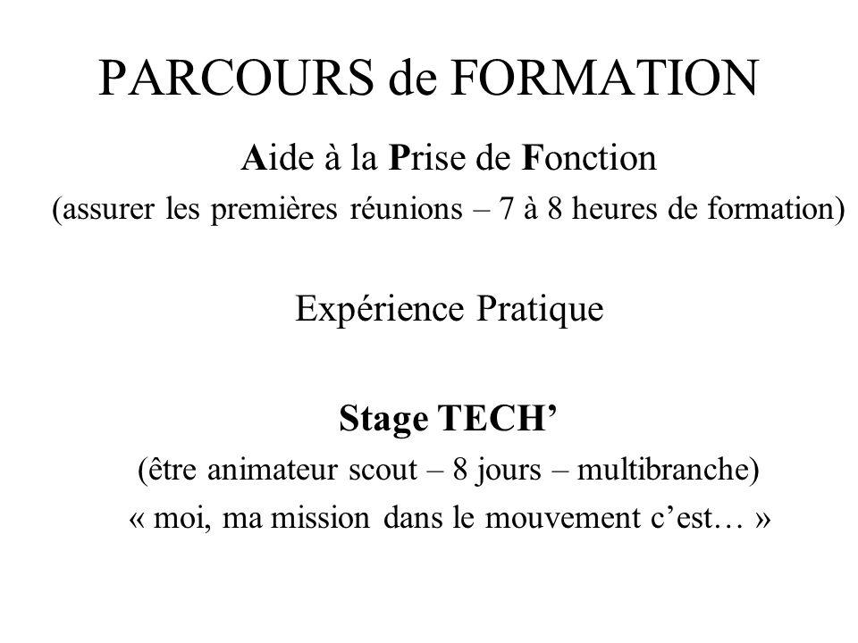 PARCOURS de FORMATION Aide à la Prise de Fonction (assurer les premières réunions – 7 à 8 heures de formation) Expérience Pratique Stage TECH (être an