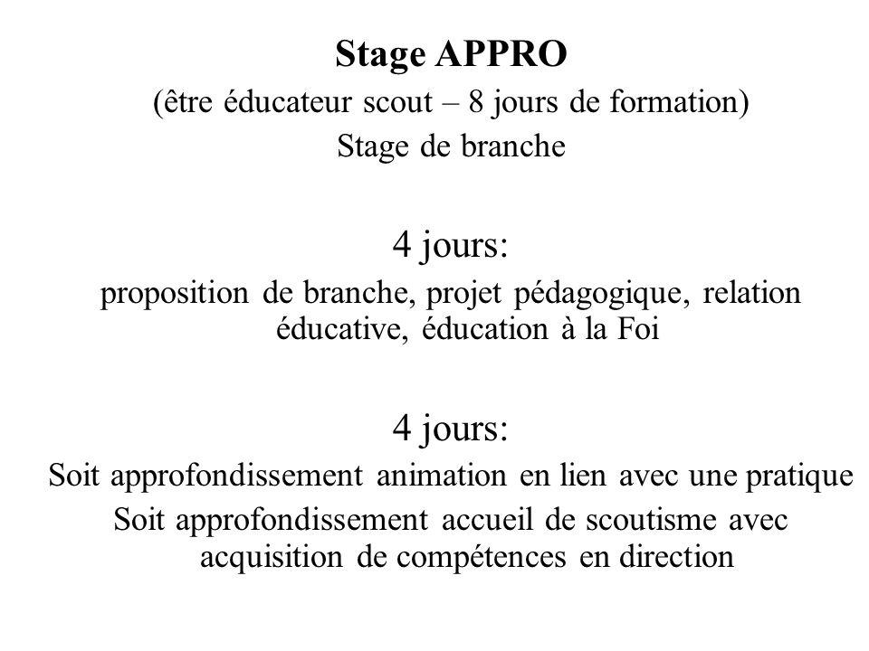 Stage APPRO (être éducateur scout – 8 jours de formation) Stage de branche 4 jours: proposition de branche, projet pédagogique, relation éducative, éd