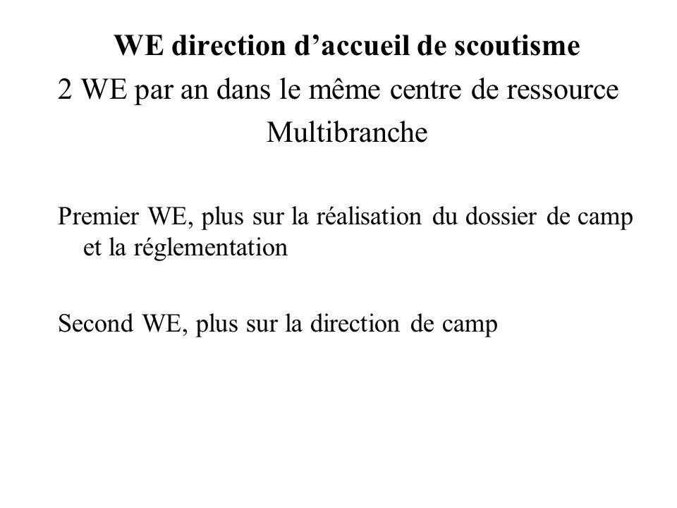 WE direction daccueil de scoutisme 2 WE par an dans le même centre de ressource Multibranche Premier WE, plus sur la réalisation du dossier de camp et