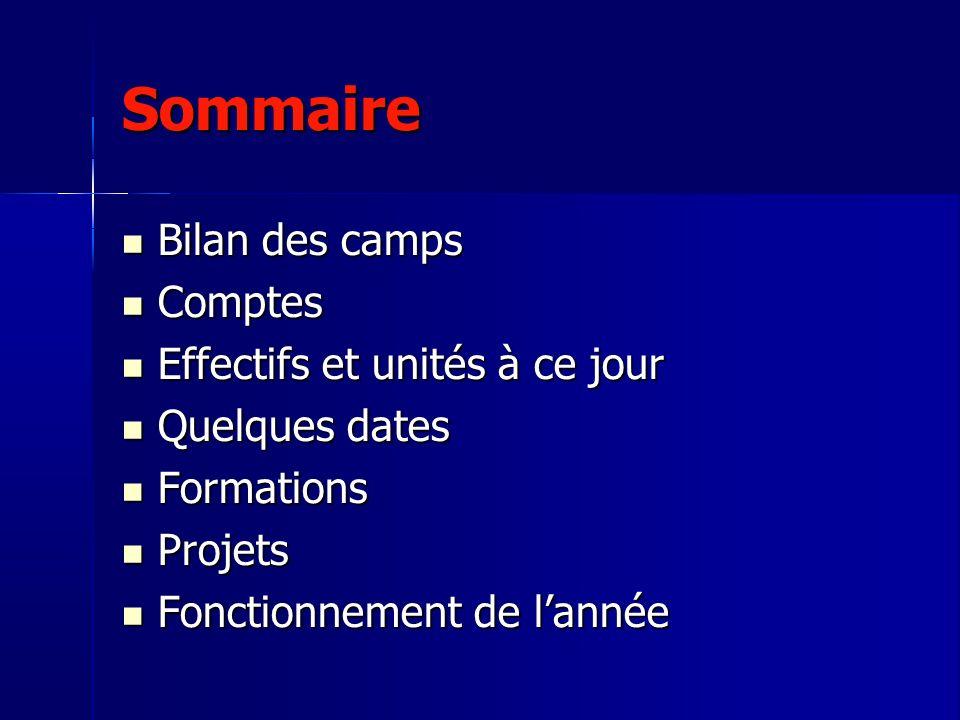 Sommaire Bilan des camps Bilan des camps Comptes Comptes Effectifs et unités à ce jour Effectifs et unités à ce jour Quelques dates Quelques dates For