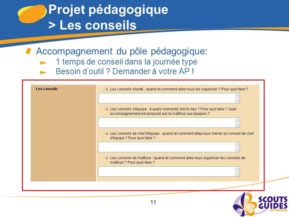 11 Projet pédagogique > Les conseils Accompagnement du pôle pédagogique: 1 temps de conseil dans la journée type Besoin doutil .