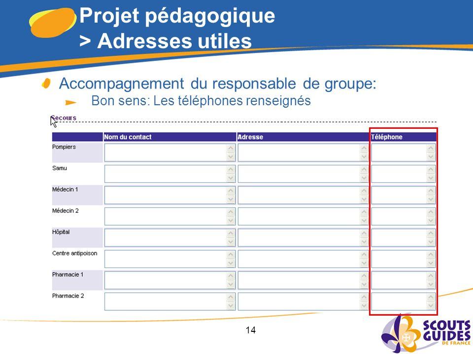 14 Projet pédagogique > Adresses utiles Accompagnement du responsable de groupe: Bon sens: Les téléphones renseignés
