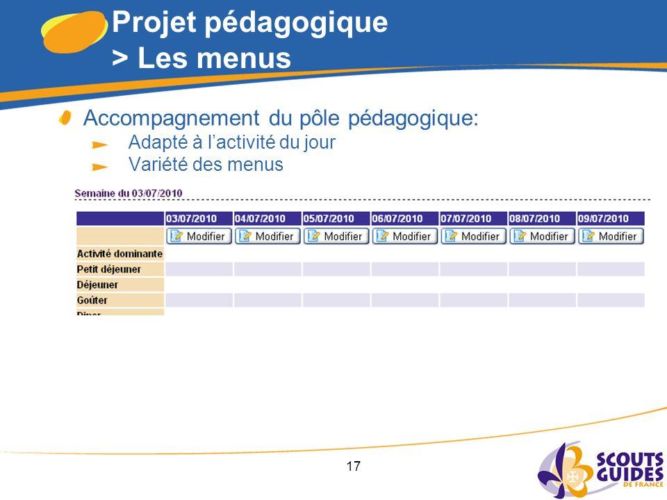 17 Projet pédagogique > Les menus Accompagnement du pôle pédagogique: Adapté à lactivité du jour Variété des menus