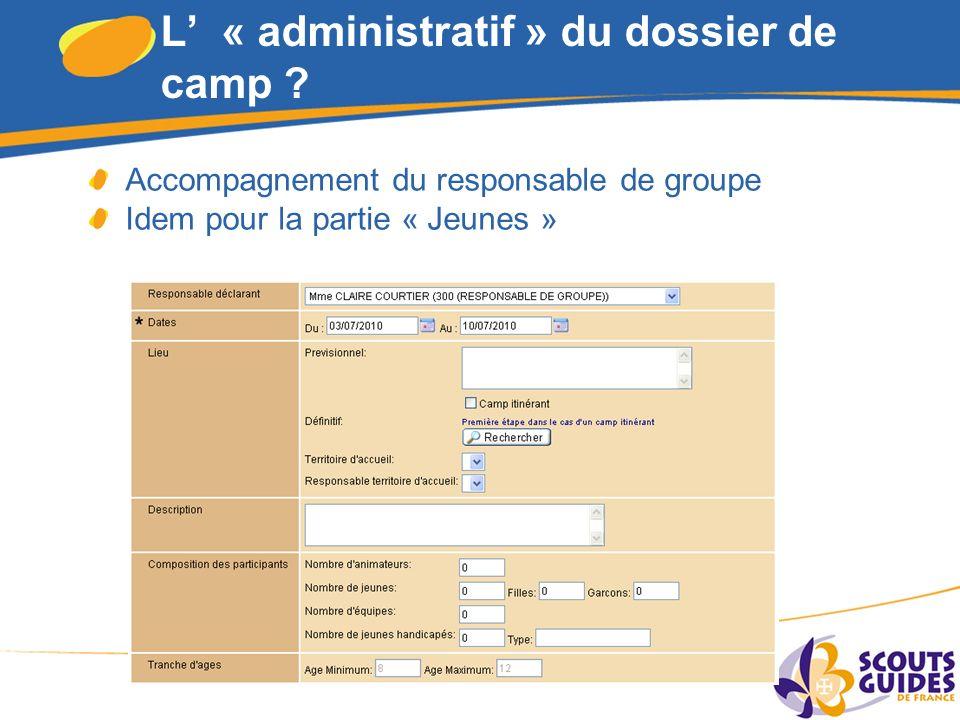 4 L « administratif » du dossier de camp .
