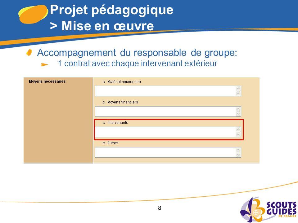 8 Projet pédagogique > Mise en œuvre Accompagnement du responsable de groupe: 1 contrat avec chaque intervenant extérieur