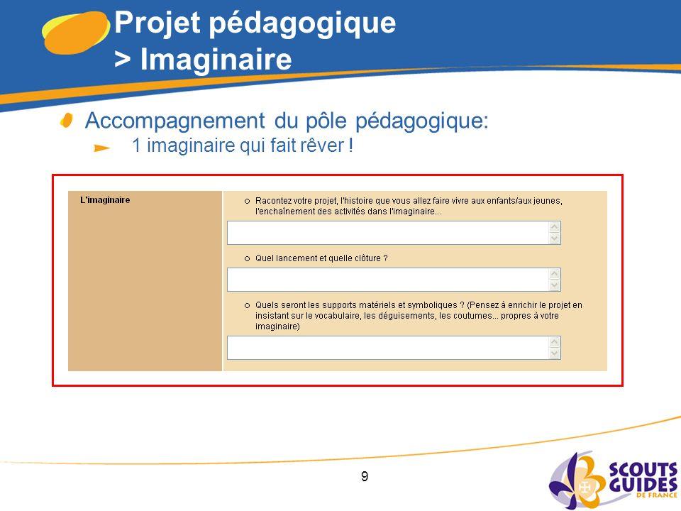 9 Projet pédagogique > Imaginaire Accompagnement du pôle pédagogique: 1 imaginaire qui fait rêver !