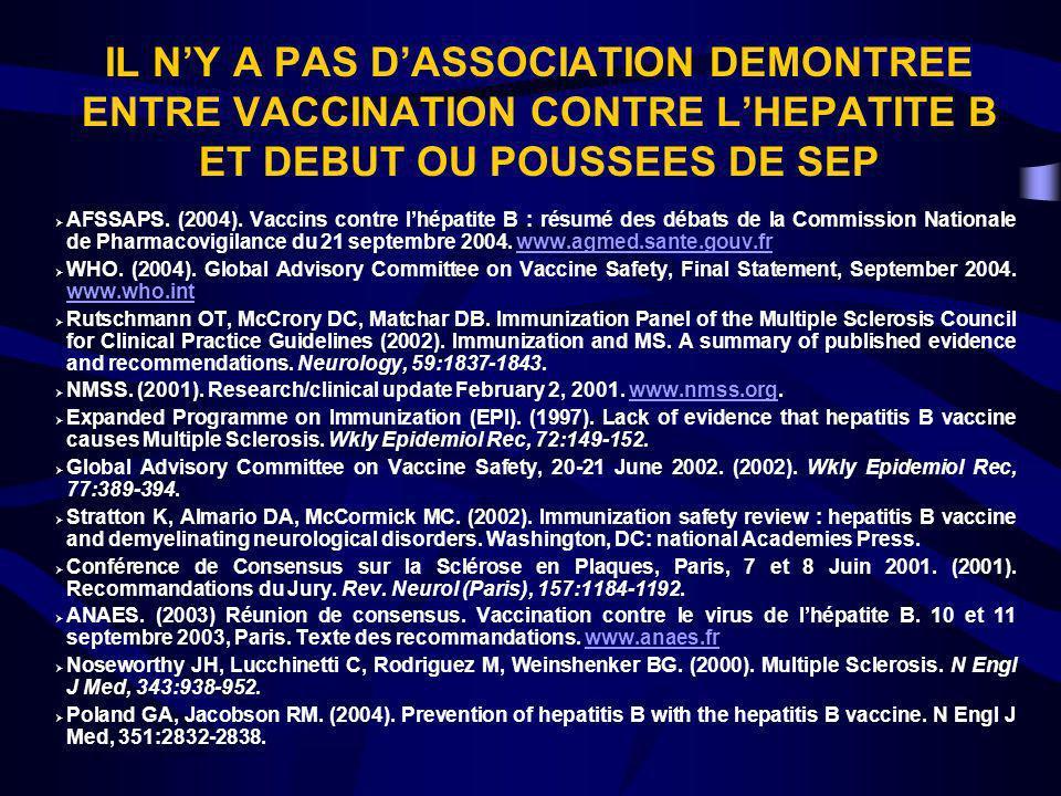 IL NY A PAS DASSOCIATION DEMONTREE ENTRE VACCINATION CONTRE LHEPATITE B ET DEBUT OU POUSSEES DE SEP AFSSAPS. (2004). Vaccins contre lhépatite B : résu