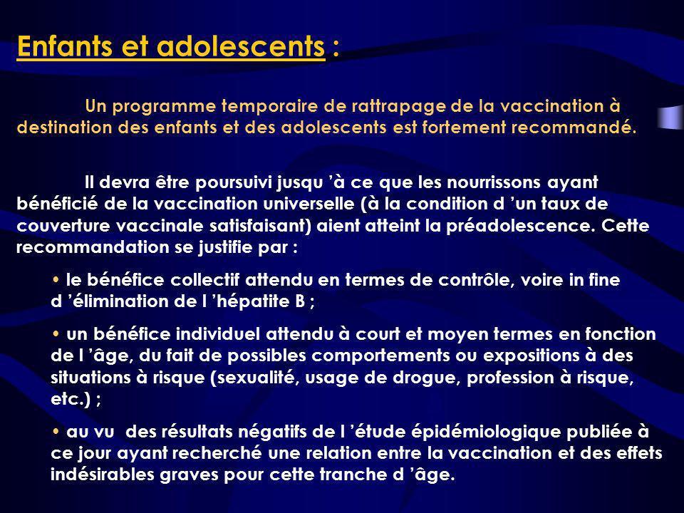 Enfants et adolescents : Un programme temporaire de rattrapage de la vaccination à destination des enfants et des adolescents est fortement recommandé