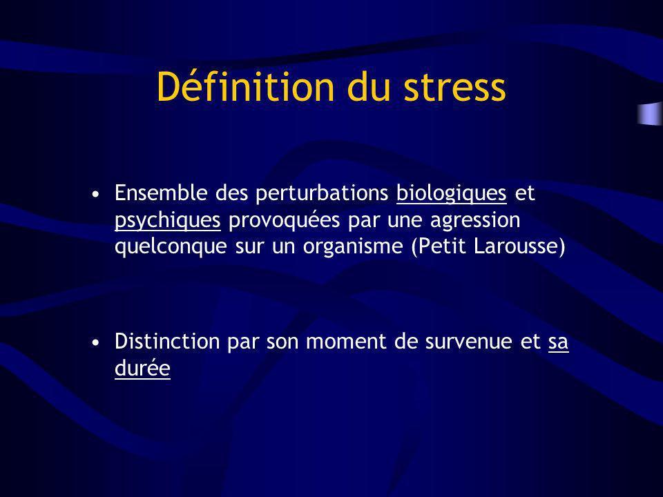 Définition du stress Ensemble des perturbations biologiques et psychiques provoquées par une agression quelconque sur un organisme (Petit Larousse) Di