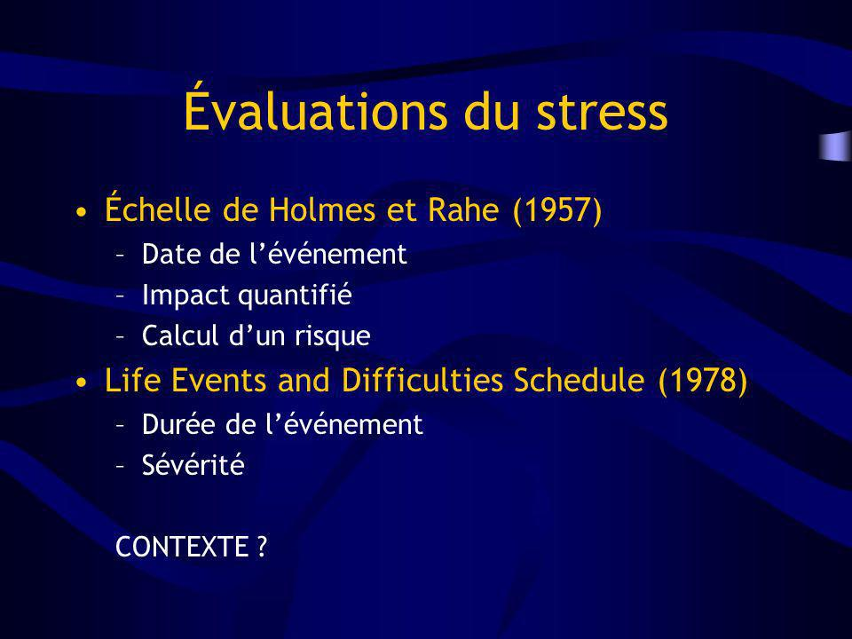 Évaluations du stress Échelle de Holmes et Rahe (1957) –Date de lévénement –Impact quantifié –Calcul dun risque Life Events and Difficulties Schedule