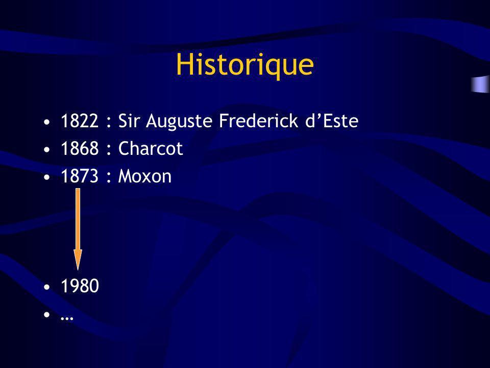 Historique 1822 : Sir Auguste Frederick dEste 1868 : Charcot 1873 : Moxon 1980 …