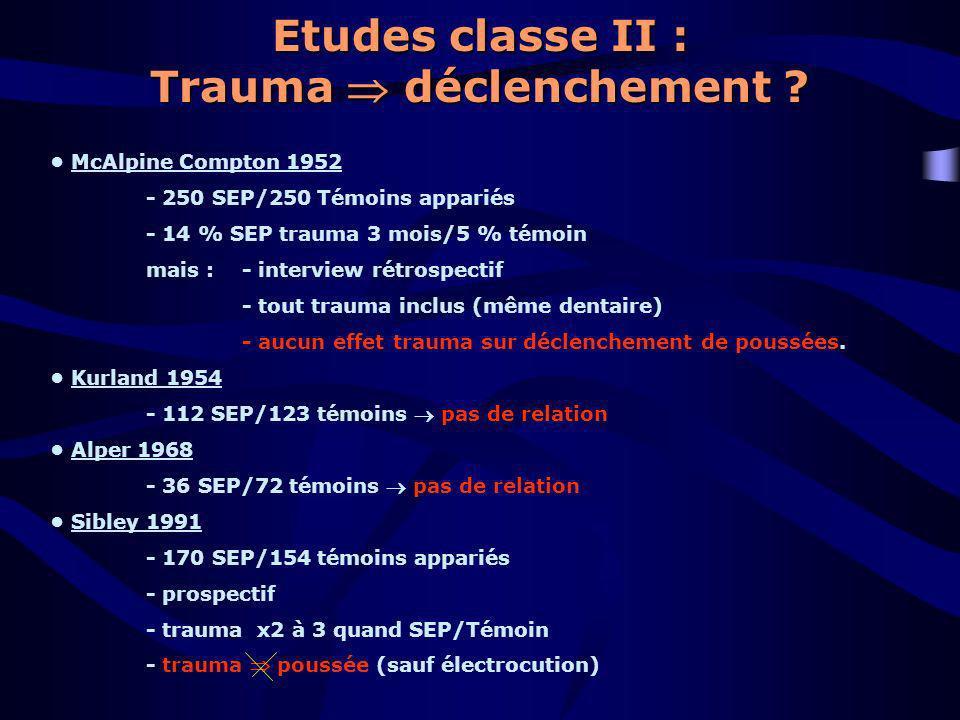 Etudes classe II : Trauma déclenchement ? McAlpine Compton 1952 - 250 SEP/250 Témoins appariés - 14 % SEP trauma 3 mois/5 % témoin mais : - interview