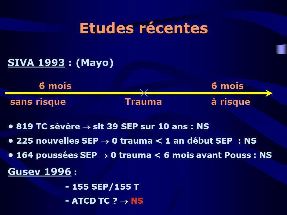 Etudes récentes SIVA 1993 : (Mayo) 819 TC sévère slt 39 SEP sur 10 ans : NS 225 nouvelles SEP 0 trauma < 1 an début SEP : NS 164 poussées SEP 0 trauma