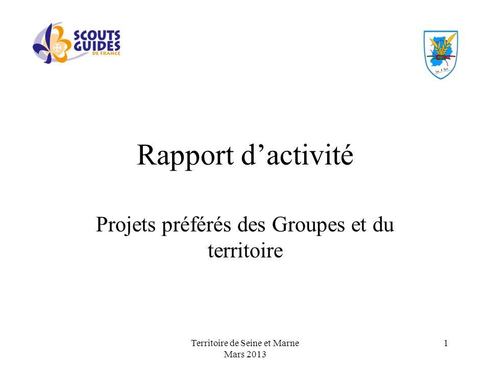 Rapport dactivité Projets préférés des Groupes et du territoire Territoire de Seine et Marne Mars 2013 1