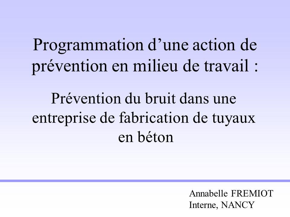Programmation dune action de prévention en milieu de travail : Prévention du bruit dans une entreprise de fabrication de tuyaux en béton Annabelle FRE
