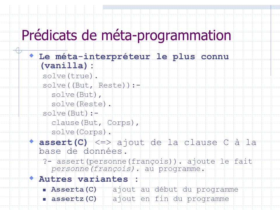 Prédicats de méta-programmation Le méta-interpréteur le plus connu (vanilla): solve(true). solve((But, Reste)):- solve(But), solve(Reste). solve(But):