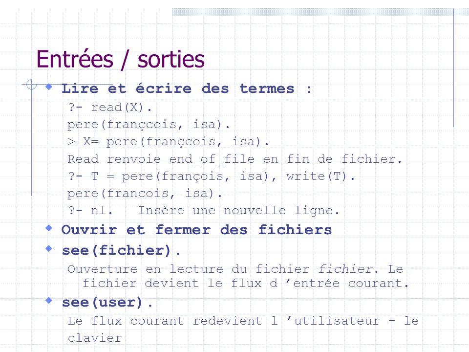 Entrées / sorties Lire et écrire des termes : ?- read(X). pere(françcois, isa). > X= pere(françcois, isa). Read renvoie end_of_file en fin de fichier.