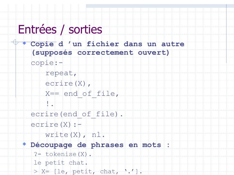 Entrées / sorties Copie d un fichier dans un autre (supposés correctement ouvert) copie:- repeat, ecrire(X), X== end_of_file, !. ecrire(end_of_file).