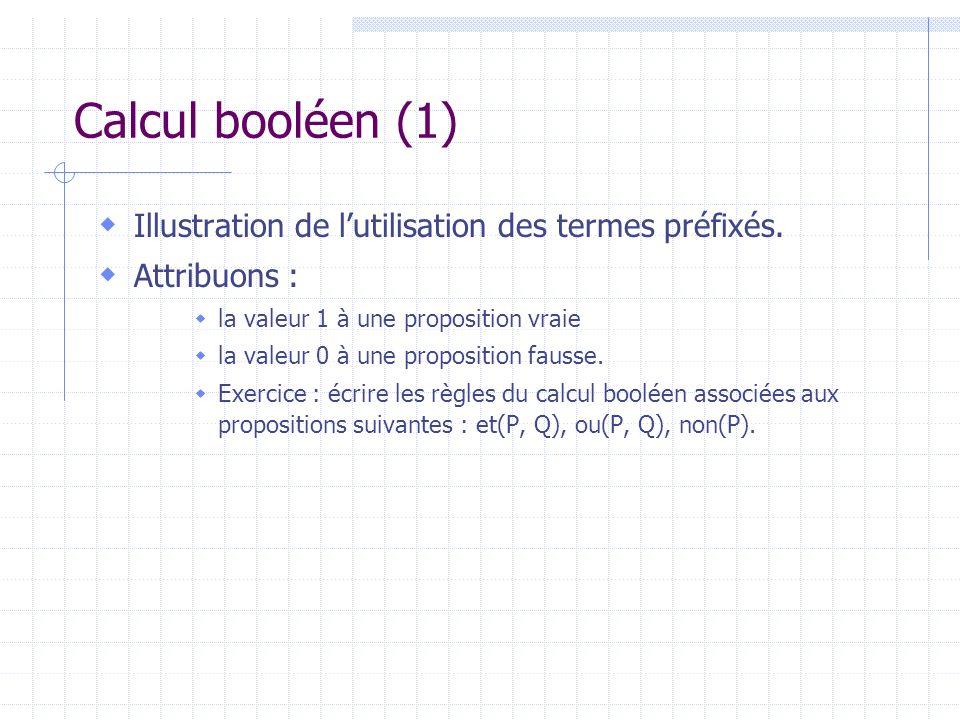 Calcul booléen (1) Illustration de lutilisation des termes préfixés. Attribuons : la valeur 1 à une proposition vraie la valeur 0 à une proposition fa