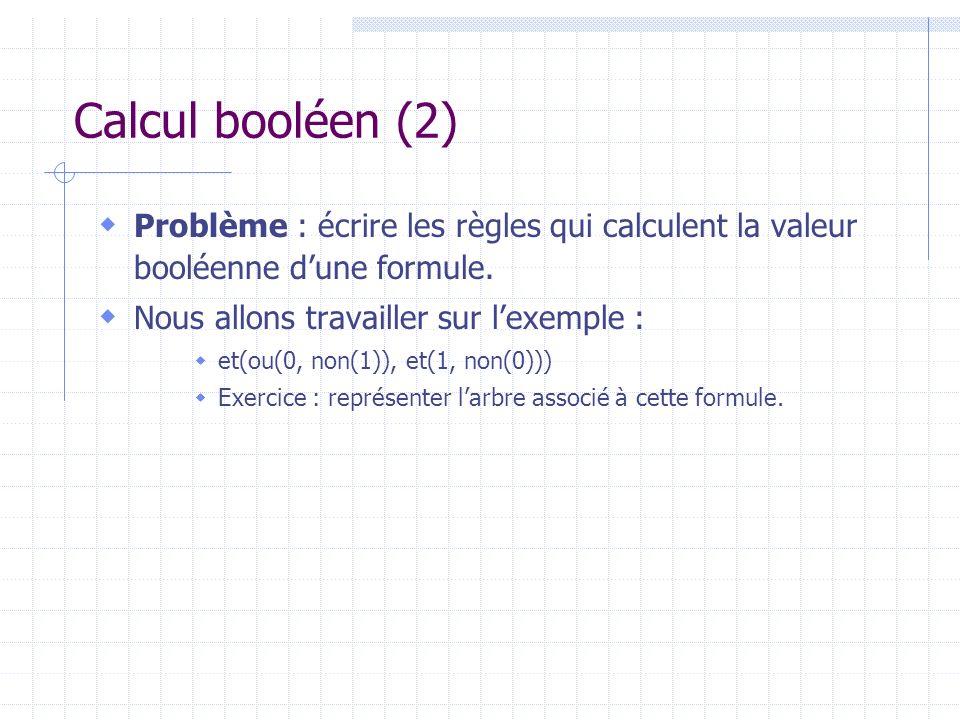 Calcul booléen (2) Problème : écrire les règles qui calculent la valeur booléenne dune formule. Nous allons travailler sur lexemple : et(ou(0, non(1))