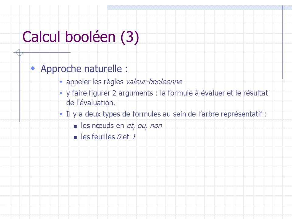 Calcul booléen (3) Approche naturelle : appeler les règles valeur-booleenne y faire figurer 2 arguments : la formule à évaluer et le résultat de l'éva