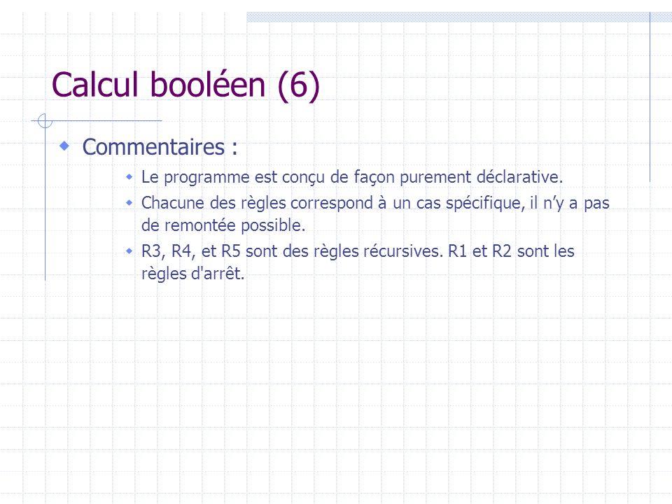 Calcul booléen (6) Commentaires : Le programme est conçu de façon purement déclarative. Chacune des règles correspond à un cas spécifique, il ny a pas