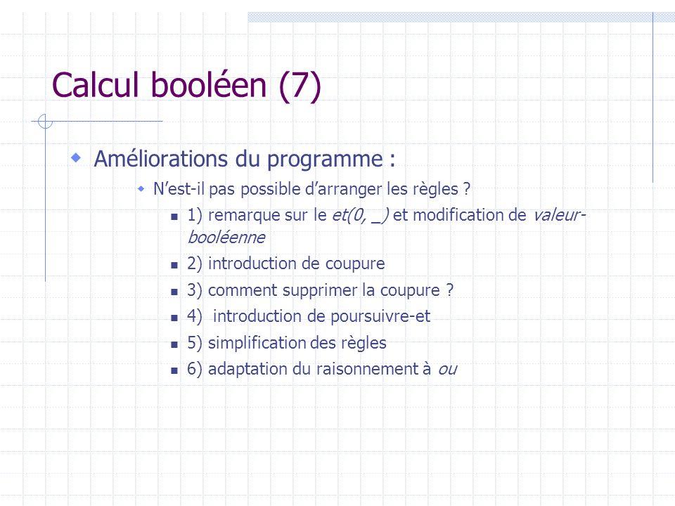 Calcul booléen (7) Améliorations du programme : Nest-il pas possible darranger les règles ? 1) remarque sur le et(0, _) et modification de valeur- boo