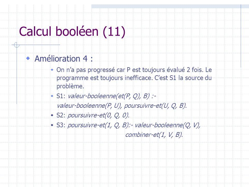 Calcul booléen (11) Amélioration 4 : On na pas progressé car P est toujours évalué 2 fois. Le programme est toujours inefficace. Cest S1 la source du