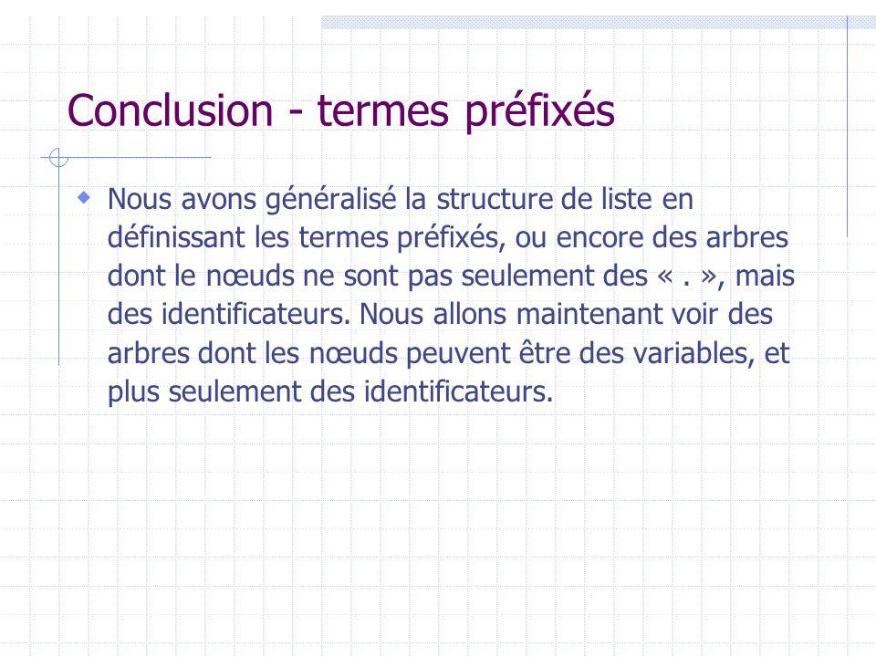 Conclusion - termes préfixés Nous avons généralisé la structure de liste en définissant les termes préfixés, ou encore des arbres dont le nœuds ne son