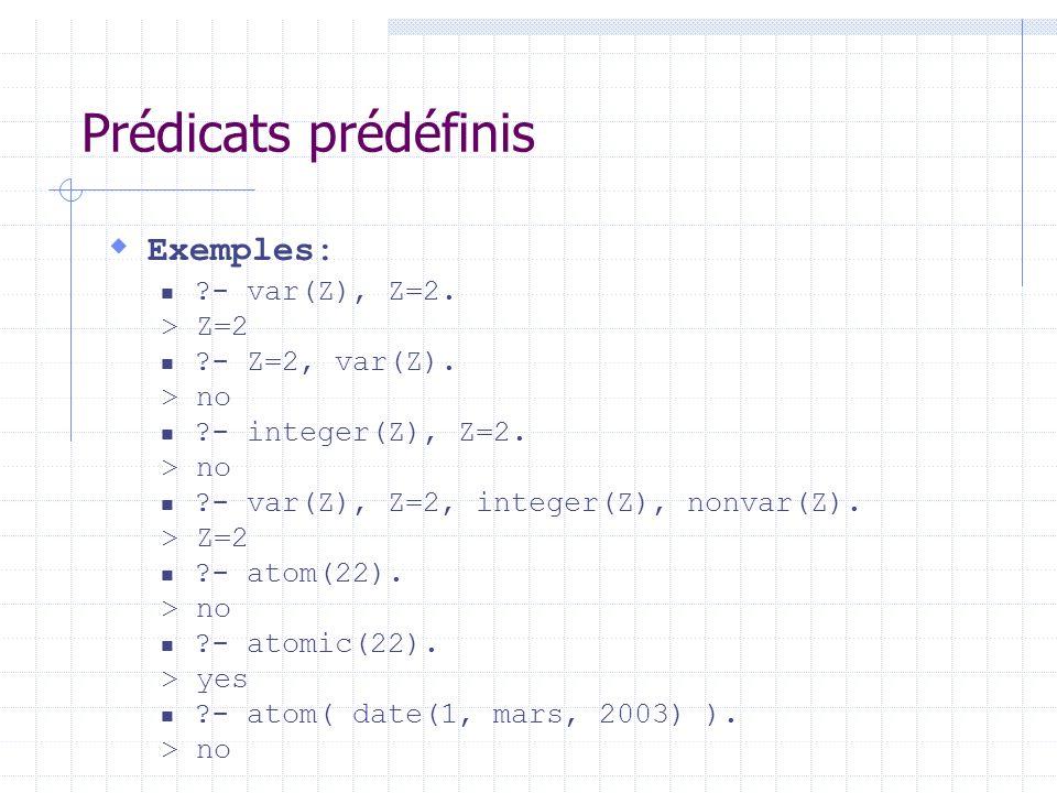 Prédicats prédéfinis Exemples: ?- var(Z), Z=2. > Z=2 ?- Z=2, var(Z). > no ?- integer(Z), Z=2. > no ?- var(Z), Z=2, integer(Z), nonvar(Z). > Z=2 ?- ato