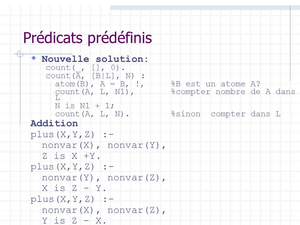 Prédicats prédéfinis Nouvelle solution: count(_, [], 0). count(A, [B|L], N) : atom(B), A = B, !, %B est un atome A? count(A, L, N1), %compter nombre