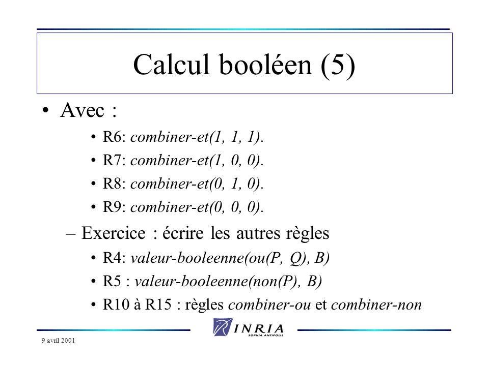 9 avril 2001 Calcul booléen (5) Avec : R6: combiner-et(1, 1, 1). R7: combiner-et(1, 0, 0). R8: combiner-et(0, 1, 0). R9: combiner-et(0, 0, 0). –Exerci